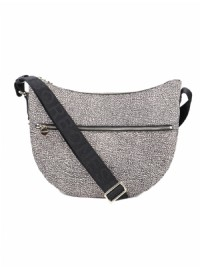 NEW BORSA BORBONESE MIDDLE 934108 LUNA BAG MEDIUM JET CON TASCA O.P.