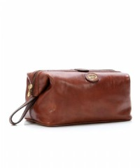 NECESSAIRE BEAUTY THE BRIDGE STORY IN PELLE 091307.01 MARRONE 26 CM